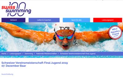 Schweizer Vereinsmeisterschaften Final Jugend in Baar am 7.12.2019 – Aufruf für Rekrutierung von Firmensponsoren